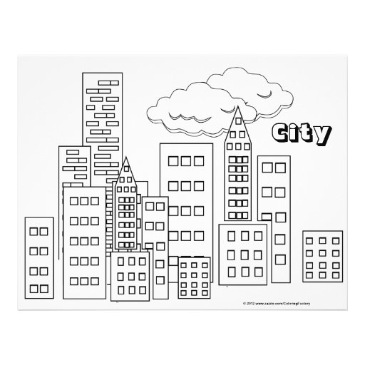 Simple City Skyline Coloring Coloring Pages