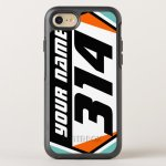 Dirt Bike Number Plate Orange Black Number Otterbox Iphone Case Zazzle Ca