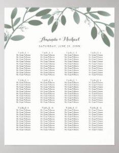 Elegant eucalyptus garden wedding seating chart also charts zazzle ca rh
