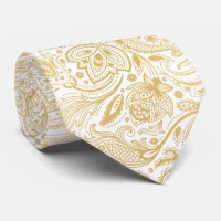 Elegant Light Gold & White Vintage Paisley Tie | Zazzle.ca