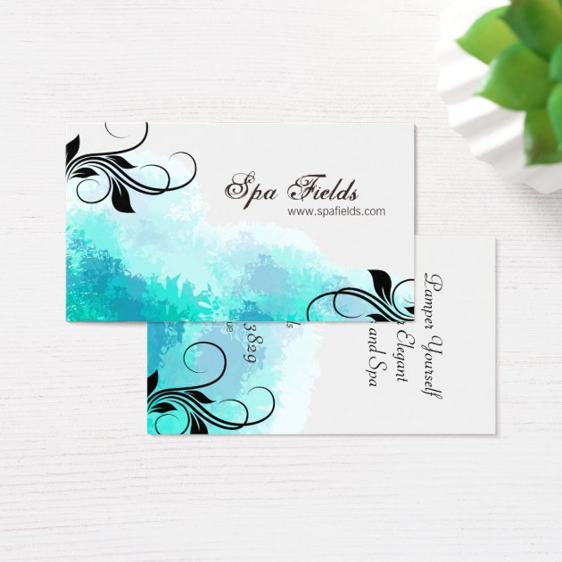 Elegant Spa Manager Business Card Teal Blue Swirl Zazzleca