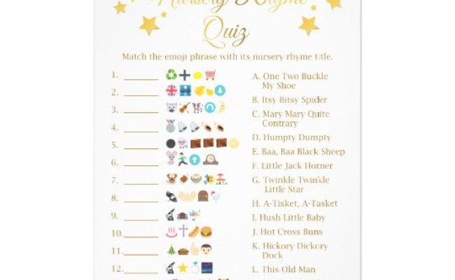 Gold Star Nursery Rhyme Baby Shower Emoji Game Flyer