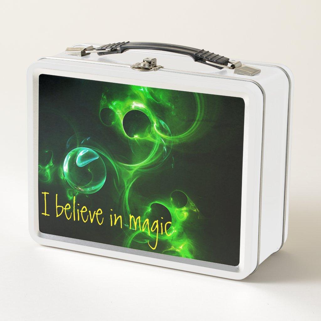 I believe in magic metal lunch box