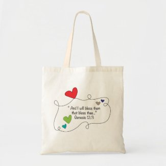 I will bless them Genesis 12:3 Christian Hearts Budget Tote Bag