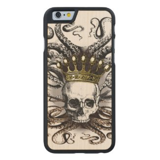King Squid Skull Wood Case Carved® Maple iPhone 6 Slim Case