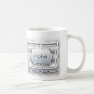 Monogram Pearls Bride w/ Galatians 2:20 Quote Basic White Mug