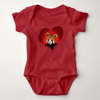Red panda heart for babies t-shirts