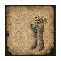 vintage cowboy boots western country art wood prints | Zazzle