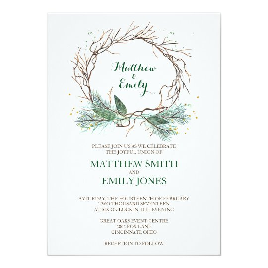 Wedding Invitation Winter Wreath Zazzleca