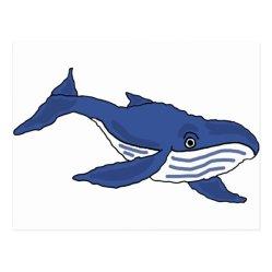 XX Blue Whale Cartoon Postcard Zazzle ca