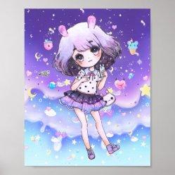 kawaii galaxy chibi cute pastel poster anime posters unicorn nz business zazzle corner front