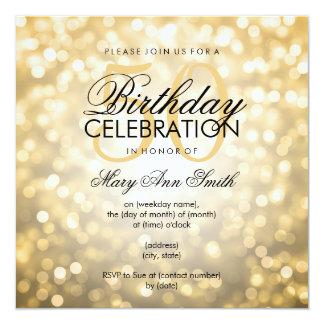 Elegant 50th Birthday Party Gold Glitter Lights Card