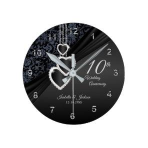 10th Black Onyx Wedding Anniversary  Design Round Clock