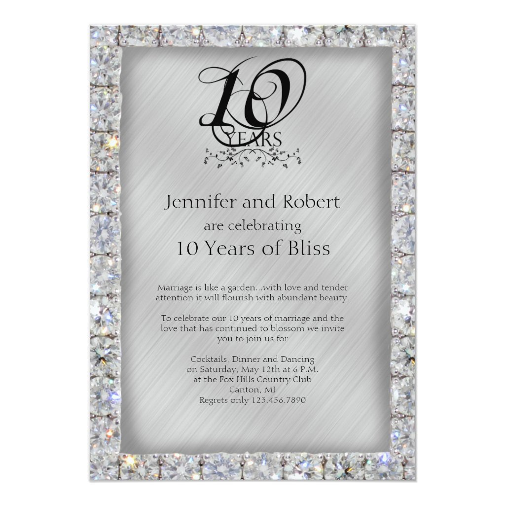 10th Wedding Anniversary Card
