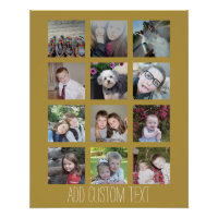 Photo Collage Gold Background Poster