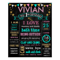 Birthday chalkboard sign personalized Poster