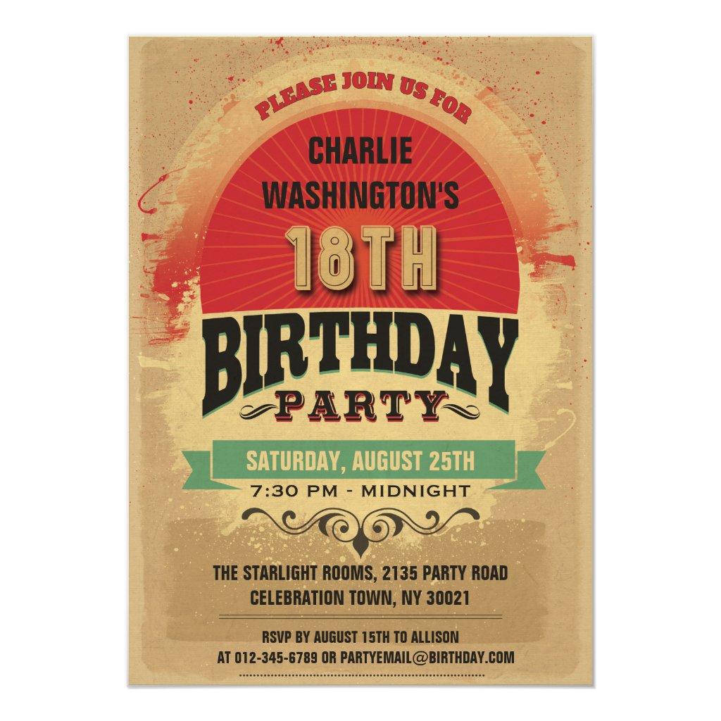 18th Birthday Vintage Typography Grunge