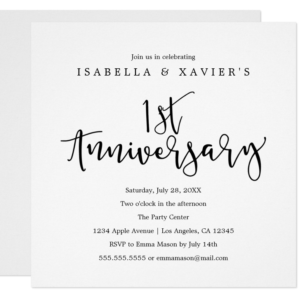 1st Anniversary | Party Invitation