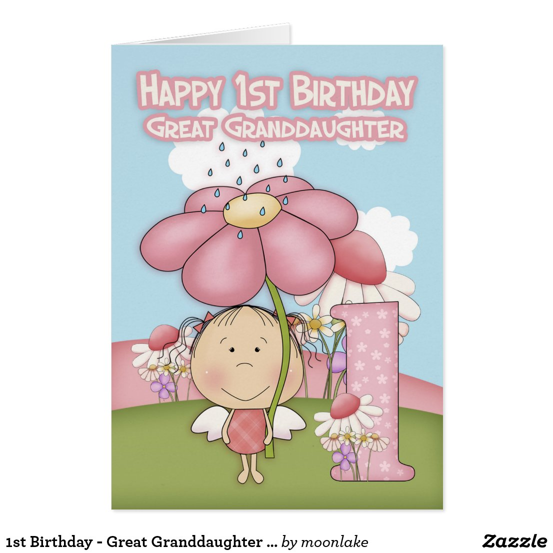 1st Birthday - Great Granddaughter - Greeting Card