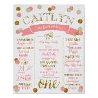 1st Birthday Pink and Gold Glitter Poster
