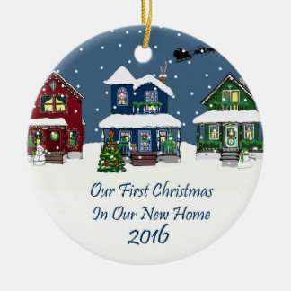 New Home Snowy Christmas Tree Decorations & Baubles Zazzle Co Uk