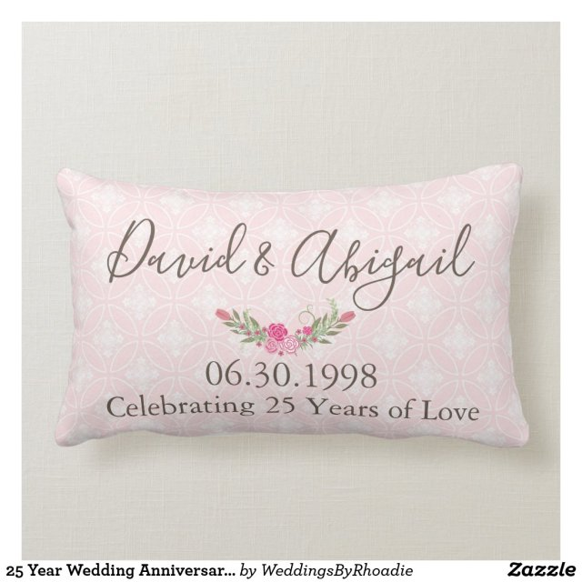25 Year Wedding Anniversary Pretty Pink Lumbar Cushion