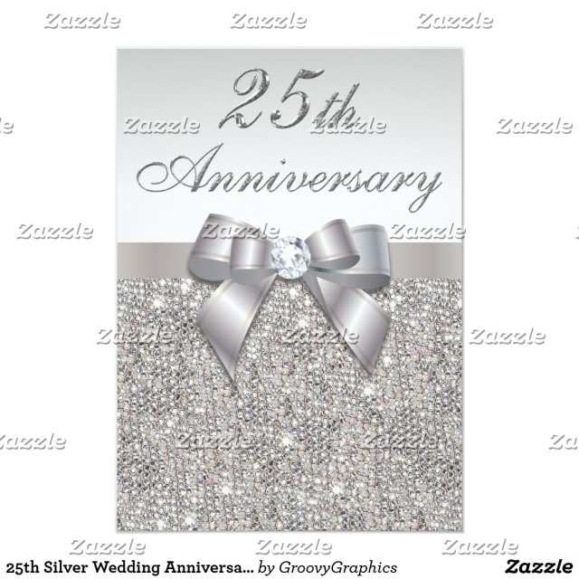 25th Silver Wedding Anniversary Faux Sequins & Bow Card