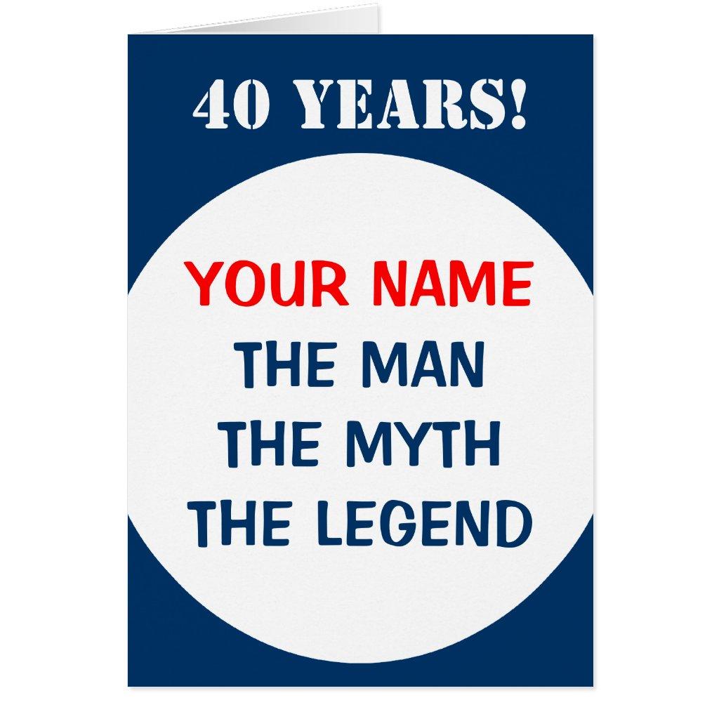 40th Birthday card for men