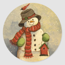 4905 Snowman & Birdhouse Christmas Classic Round Sticker