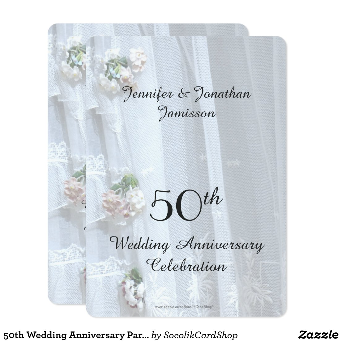 50th Wedding Anniversary Party, Vintage Lace Invitation