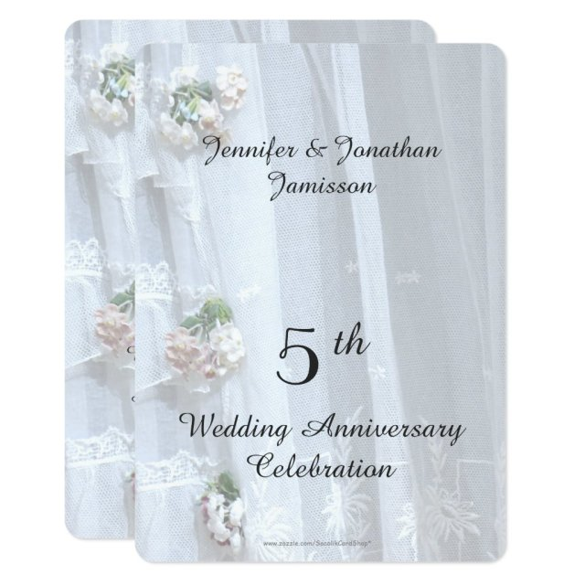 5th Wedding Anniversary Party, Vintage Lace Card