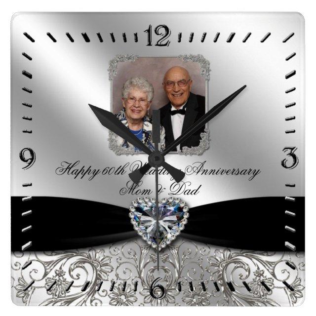 60th Wedding Anniversary Photo Square Wall Clock