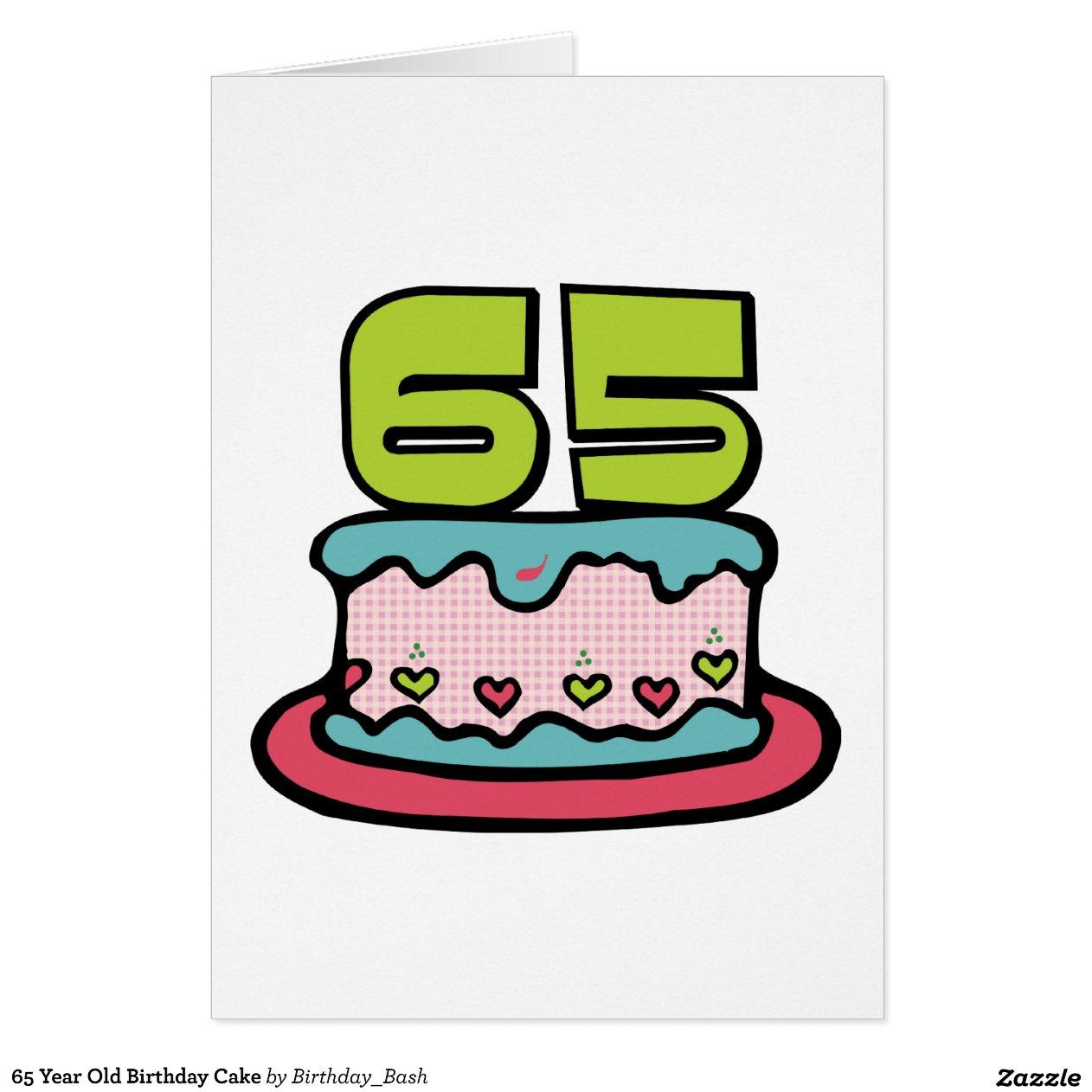 65 Year Birthday Cake Greeting Card Zazzle