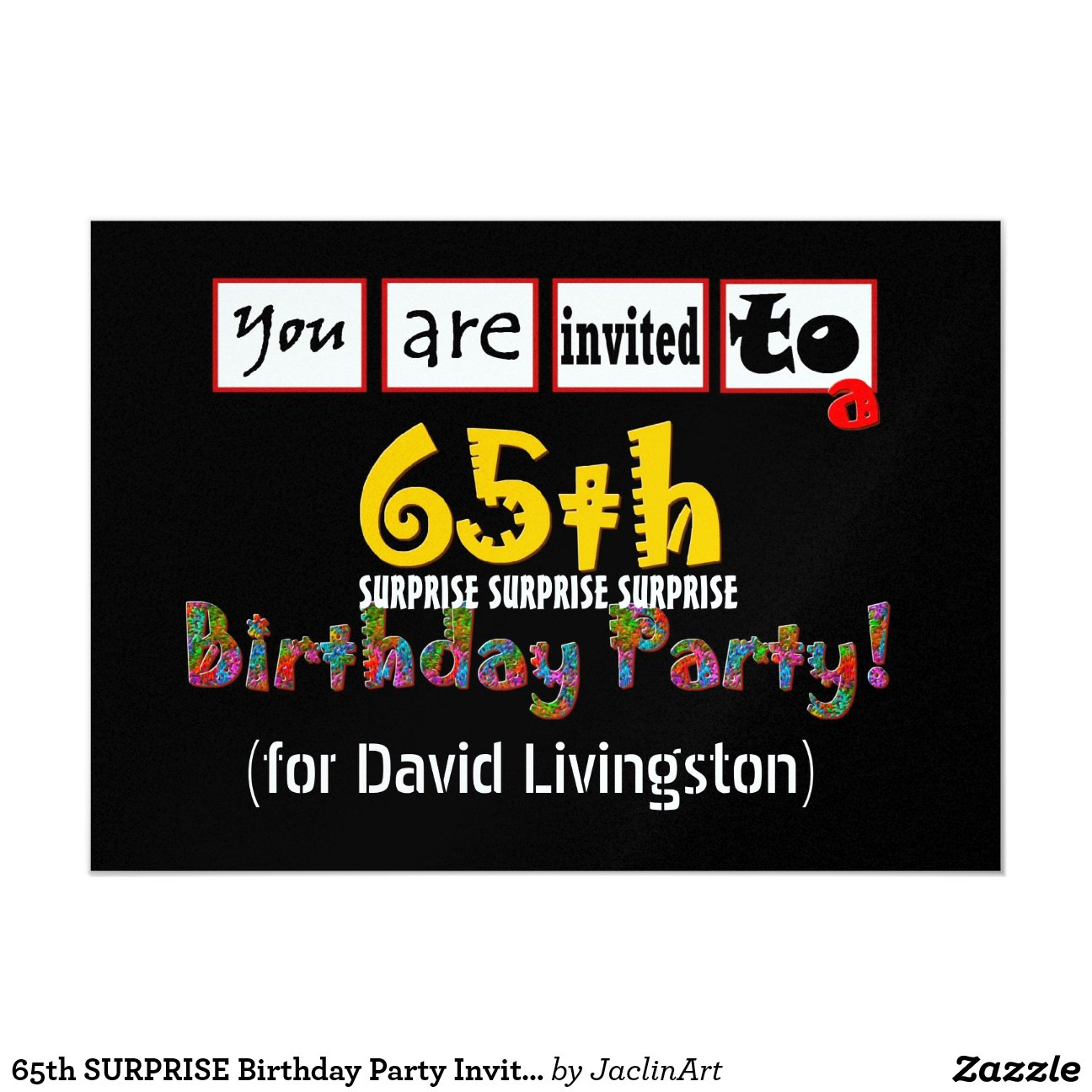 65th Surprise Birthday Party Invitation Template Zazzle