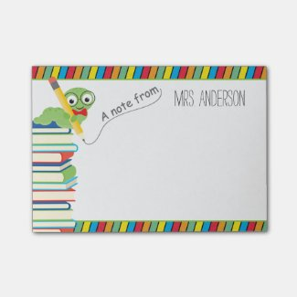 A Note From Teacher with a Bookworm Post It Notes