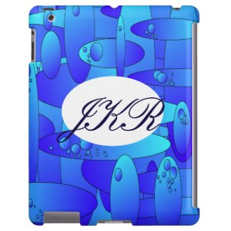 Abstract art work blues greens monogram case