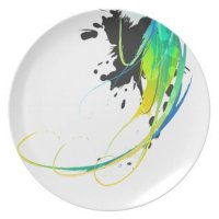 Abstract cool waters Paint Splatters Dinner Plates | Zazzle