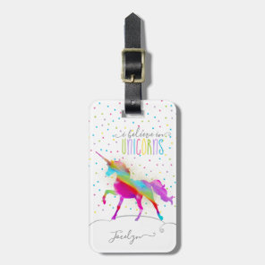 Add Name Personalised Rainbow Unicorn Gold Glitter Luggage Tag
