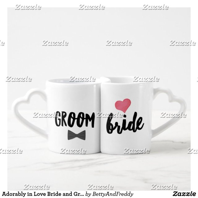 Adorably in Love Bride and Groom Coffee Mug Set