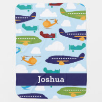 Airplane Personalized Boy's Baby Blanket
