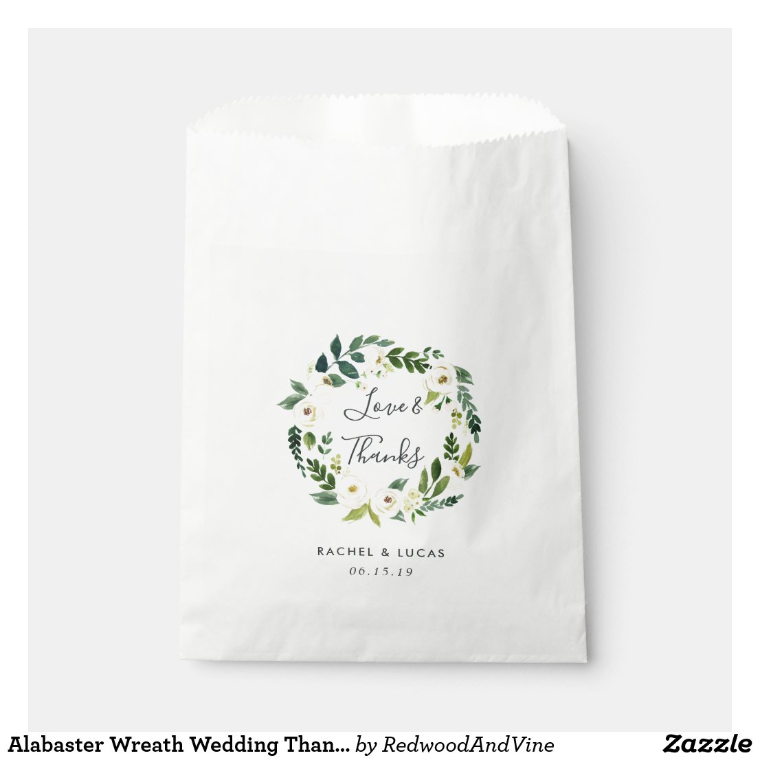 Alabaster Wreath Wedding Thank You Favour Bag