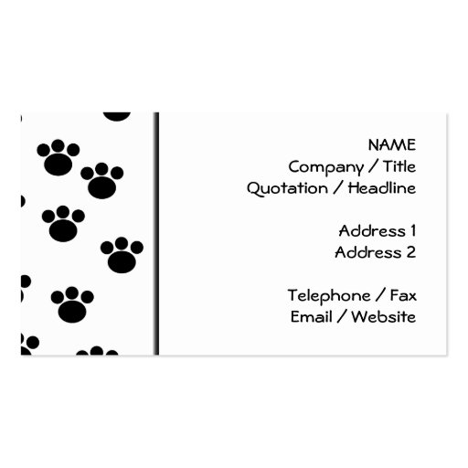 Animal Paw Print Pattern. Black and White. Business Cards