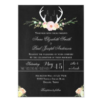 Antlers floral chalkboard wedding invitation