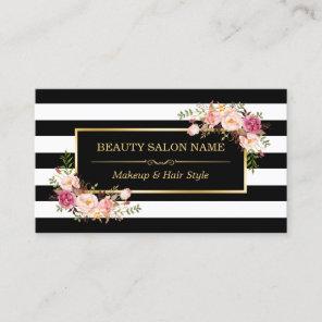 Appointment Card Vintage Beauty Salon Gold Floral