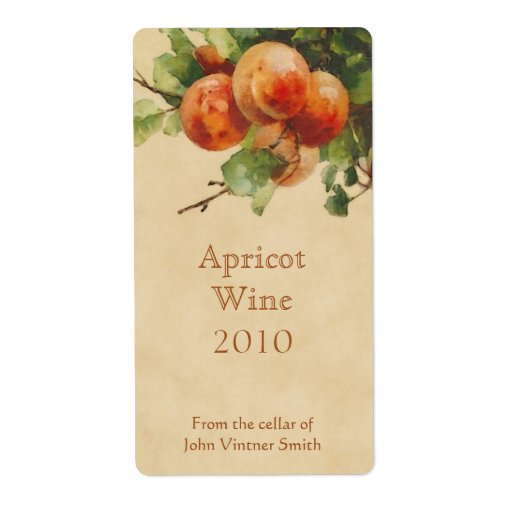 Apricot wine bottle label