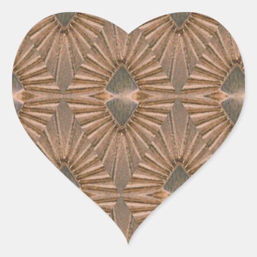 Art Deco Bronze Diamond Pattern Heart Sticker Zazzle