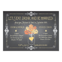 Autumn Chalkboard Wedding Rehearsal Mason Jar Card