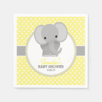 Baby Elephant (yellow) Baby Shower Standard Cocktail Napkin