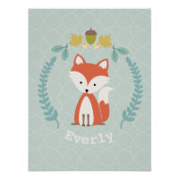 Baby Fox Wreath Personalized Nursery Artwork Poster