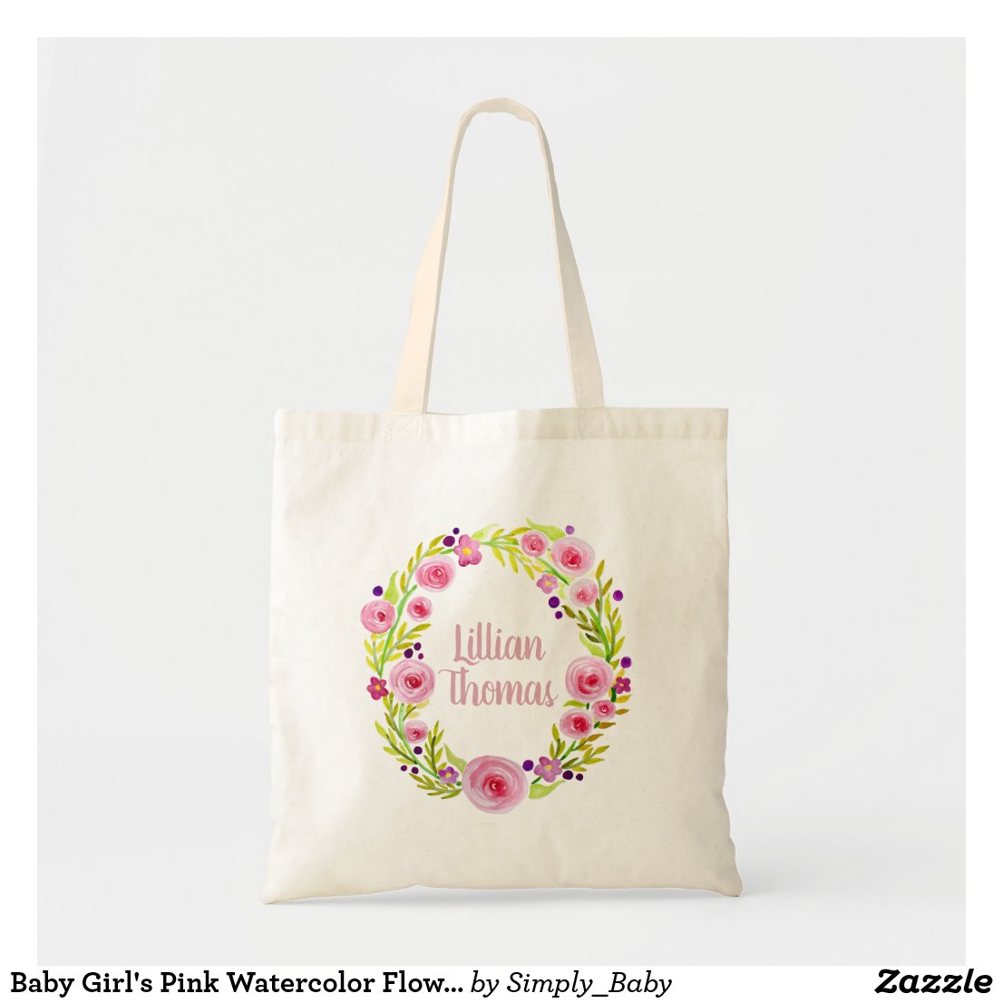Baby Girl's Pink Watercolor Flower Wreath and Name Tote Bag